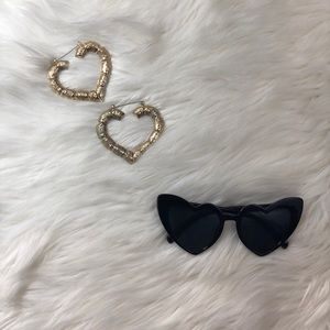 Gold Color Heart Bamboo Hoops